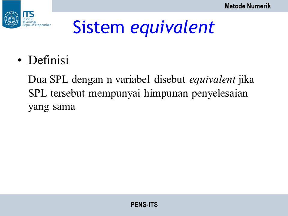 Sistem equivalent Definisi