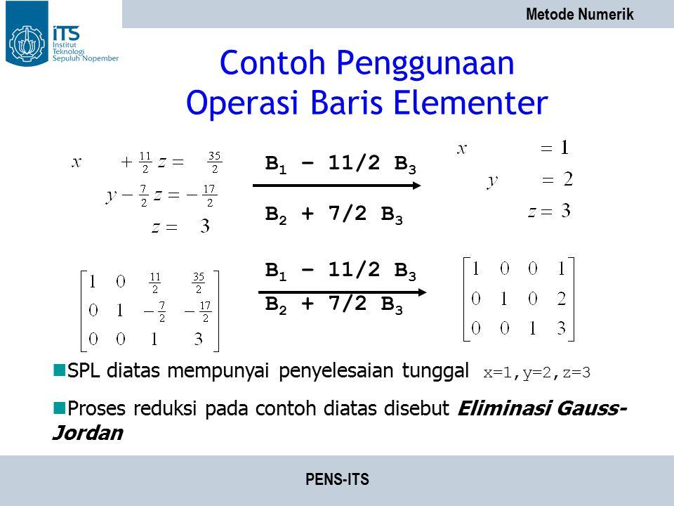 Contoh Penggunaan Operasi Baris Elementer