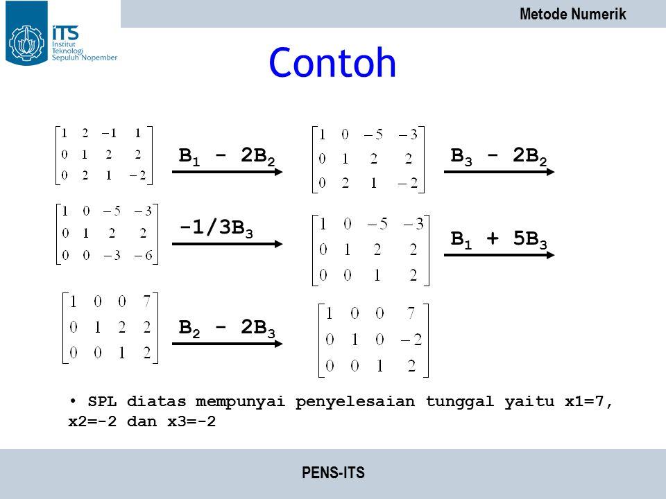 Contoh B1 - 2B2 B3 - 2B2 -1/3B3 B1 + 5B3 B2 - 2B3