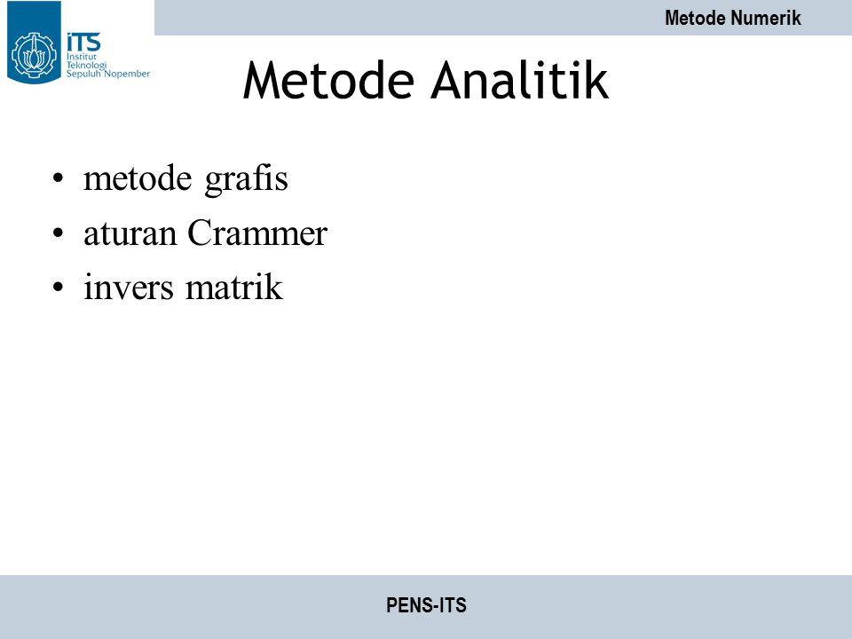 Metode Analitik metode grafis aturan Crammer invers matrik PENS-ITS