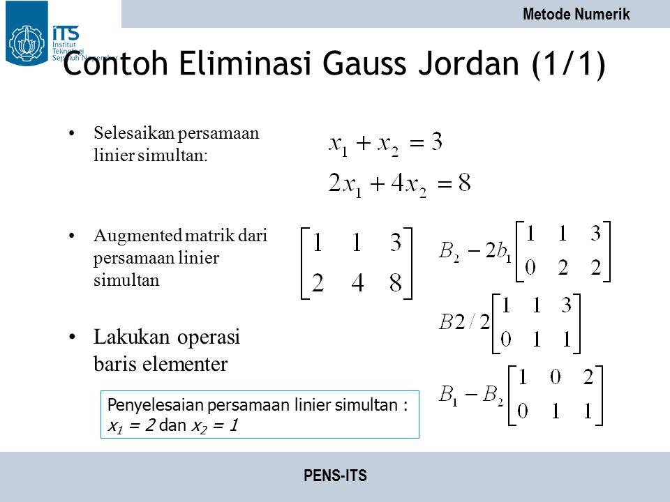 Contoh Eliminasi Gauss Jordan (1/1)