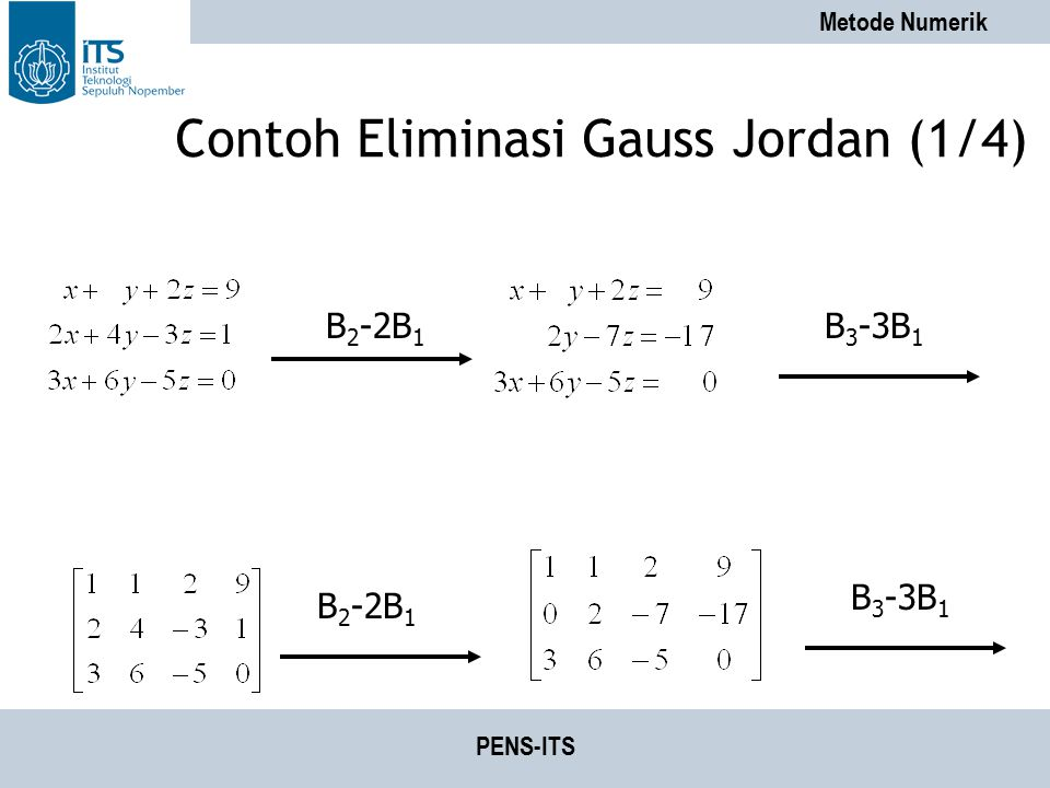 Contoh Eliminasi Gauss Jordan (1/4)