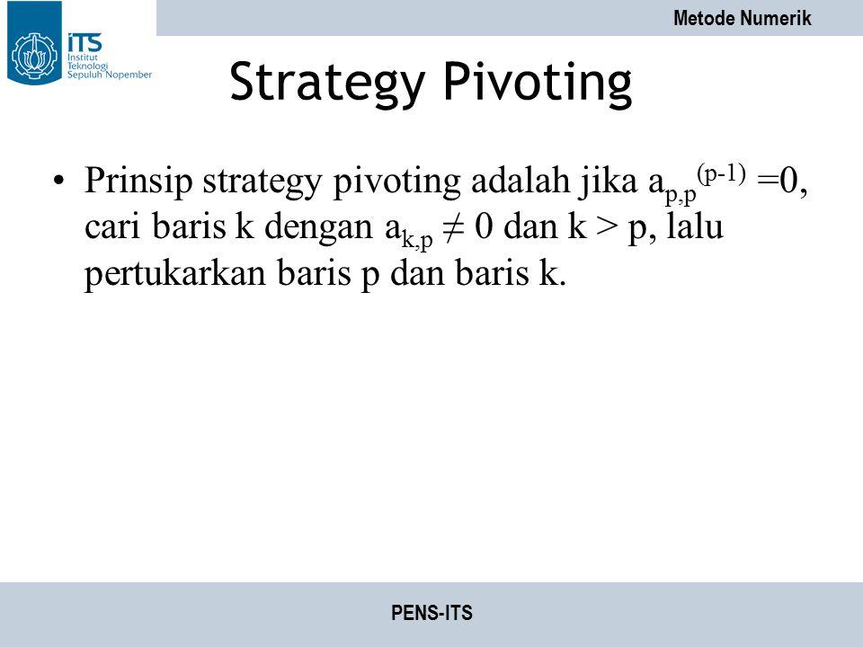 Strategy Pivoting Prinsip strategy pivoting adalah jika ap,p(p-1) =0, cari baris k dengan ak,p ≠ 0 dan k > p, lalu pertukarkan baris p dan baris k.