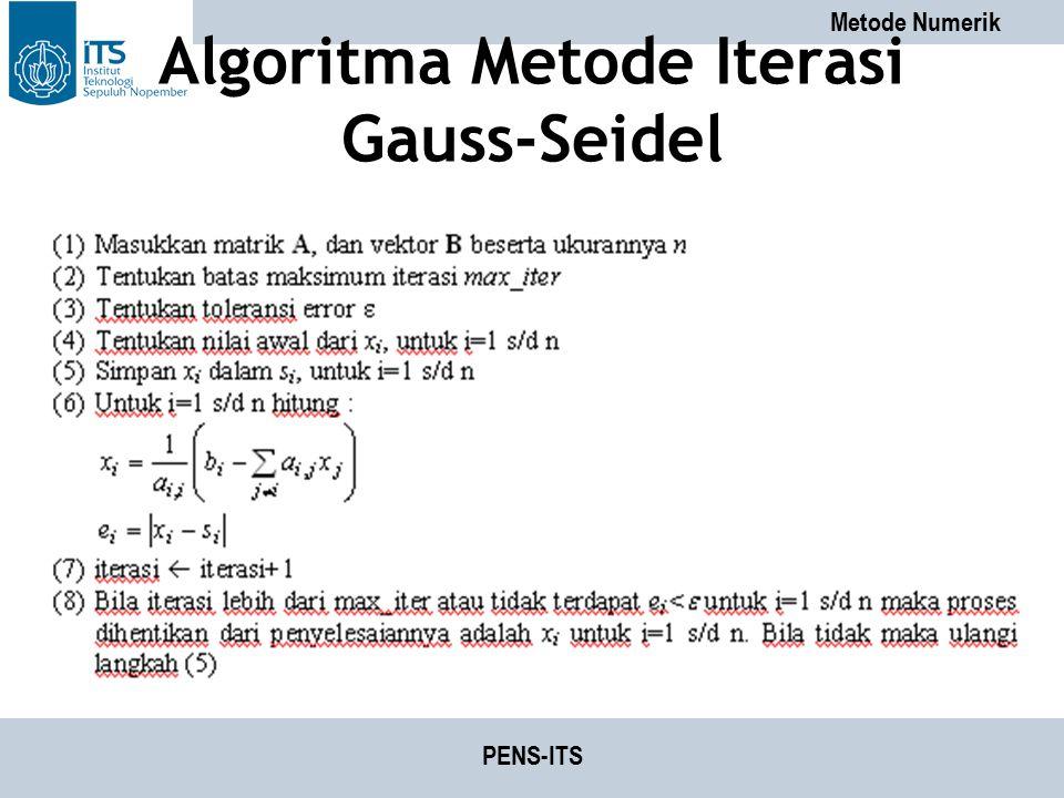 Algoritma Metode Iterasi Gauss-Seidel