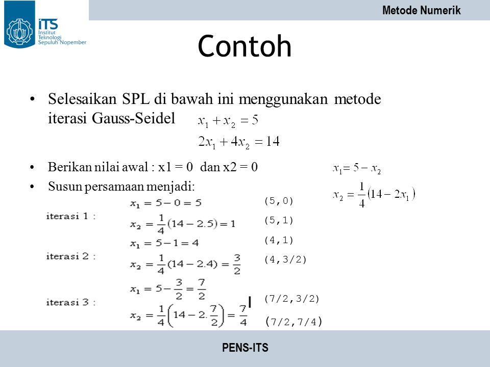 Contoh Selesaikan SPL di bawah ini menggunakan metode iterasi Gauss-Seidel. Berikan nilai awal : x1 = 0 dan x2 = 0.