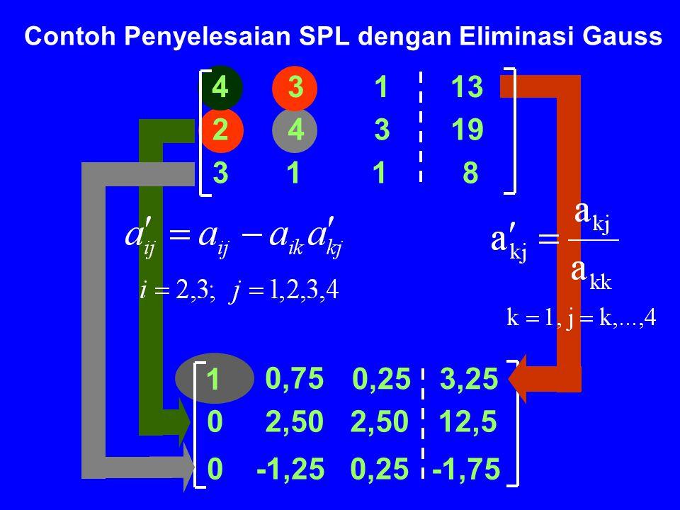 Contoh Penyelesaian SPL dengan Eliminasi Gauss