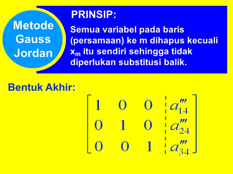 Metode Gauss Jordan PRINSIP: Bentuk Akhir: Semua variabel pada baris