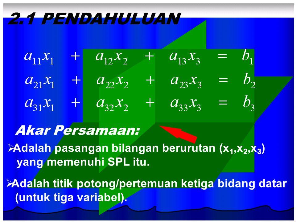 2.1 PENDAHULUAN Akar Persamaan: