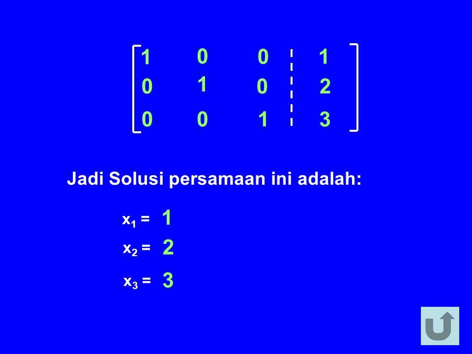 1 2 3 Jadi Solusi persamaan ini adalah: x1 = 1 x2 = 2 x3 = 3