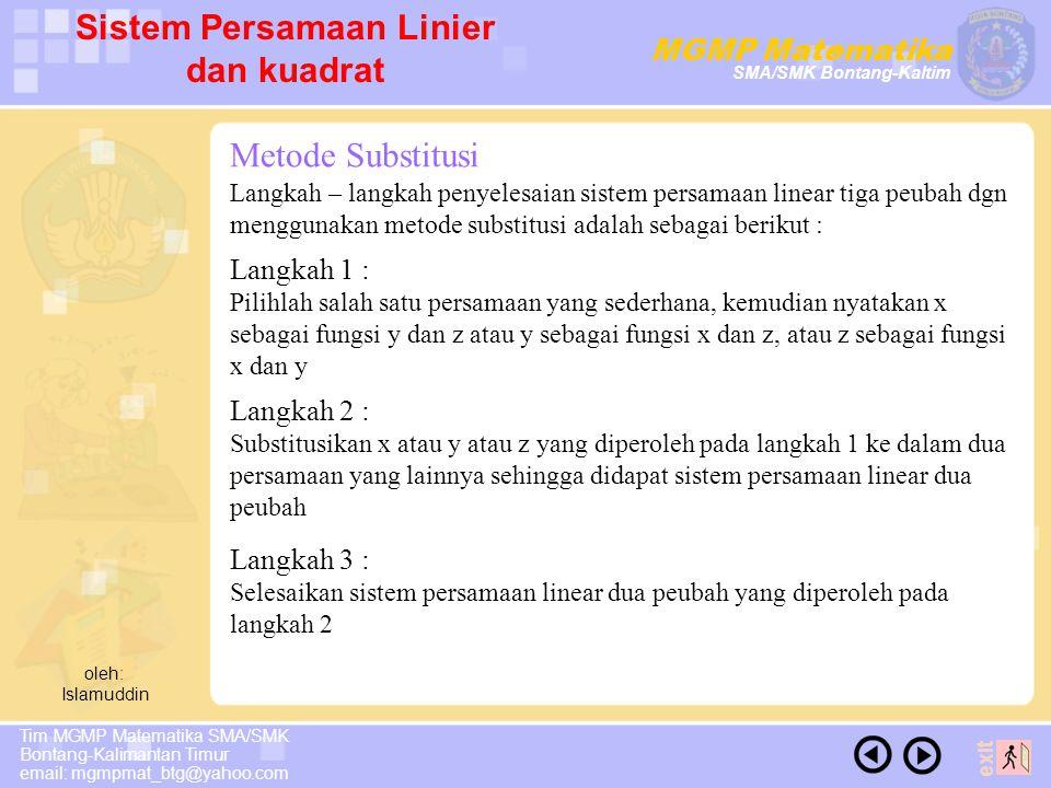 Sistem Persamaan Linier dan kuadrat