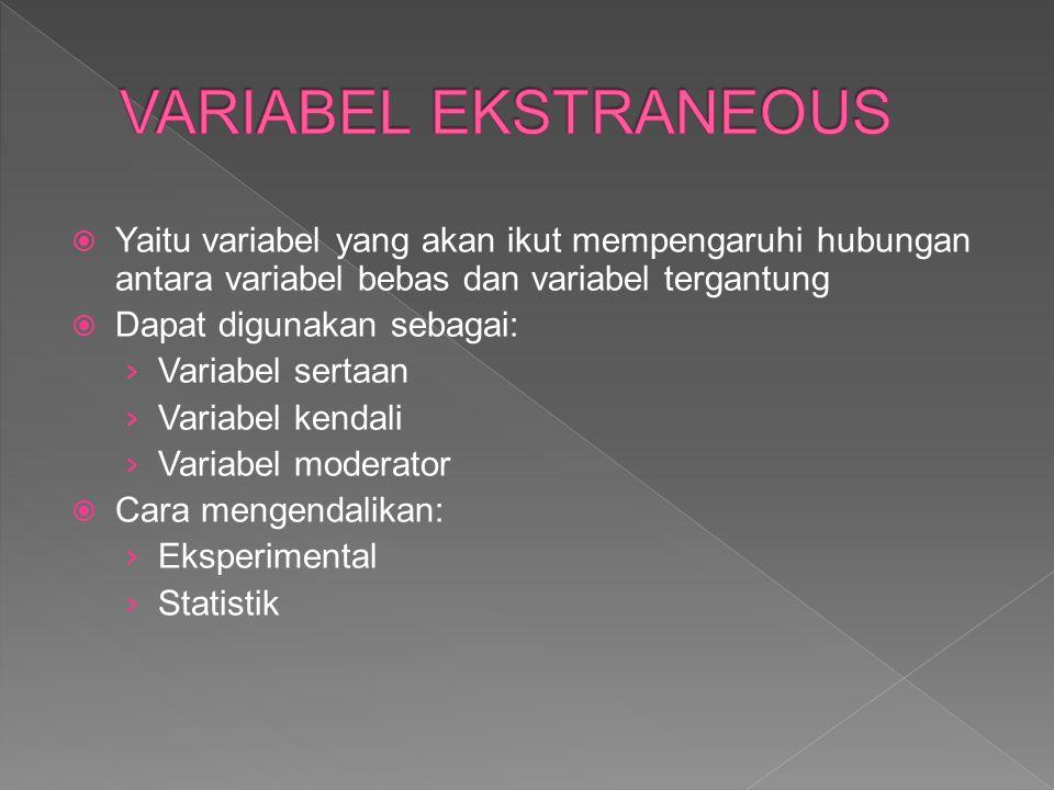 VARIABEL EKSTRANEOUS Yaitu variabel yang akan ikut mempengaruhi hubungan antara variabel bebas dan variabel tergantung.