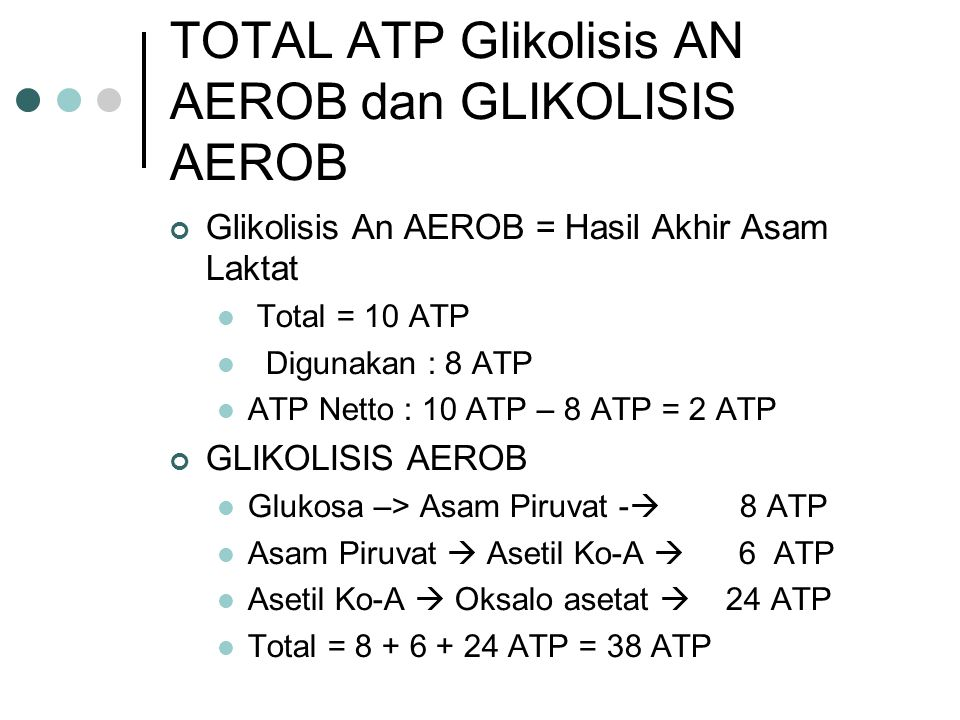 TOTAL ATP Glikolisis AN AEROB dan GLIKOLISIS AEROB