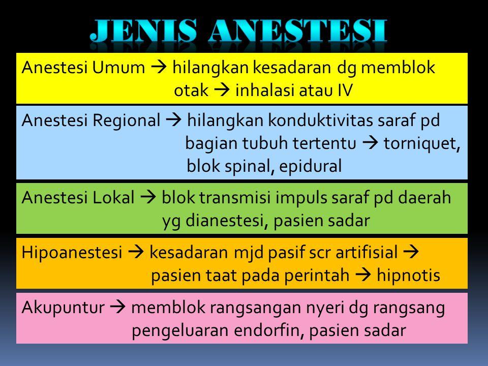 Jenis anestesi Anestesi Umum  hilangkan kesadaran dg memblok