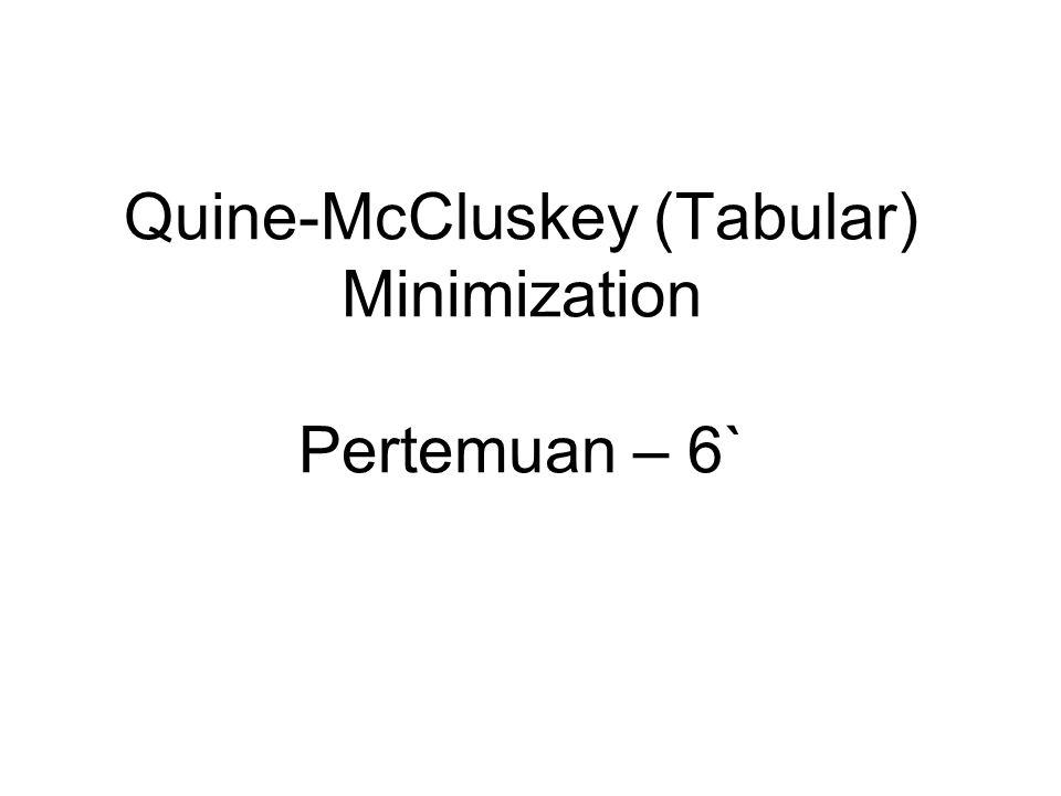 Quine-McCluskey (Tabular) Minimization Pertemuan – 6`