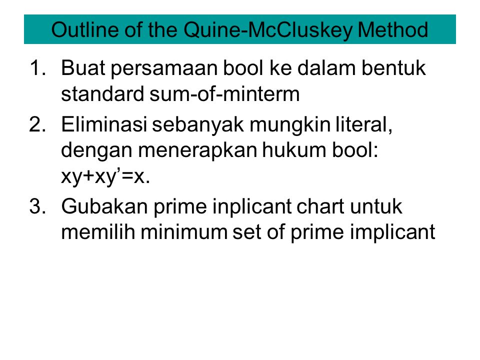 Outline of the Quine-McCluskey Method