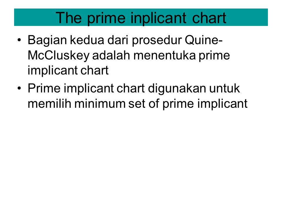 The prime inplicant chart