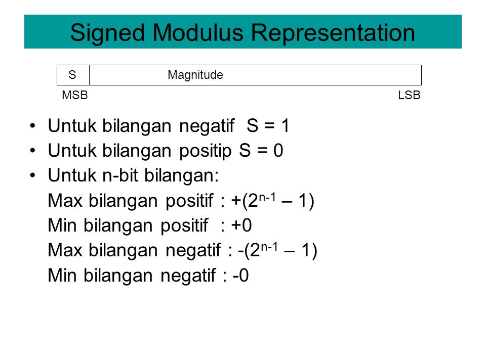 Signed Modulus Representation