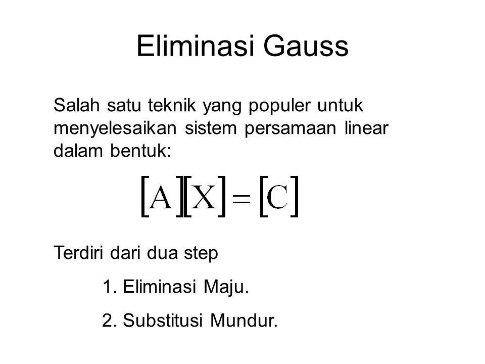 Eliminasi Gauss Salah satu teknik yang populer untuk menyelesaikan sistem persamaan linear dalam bentuk: