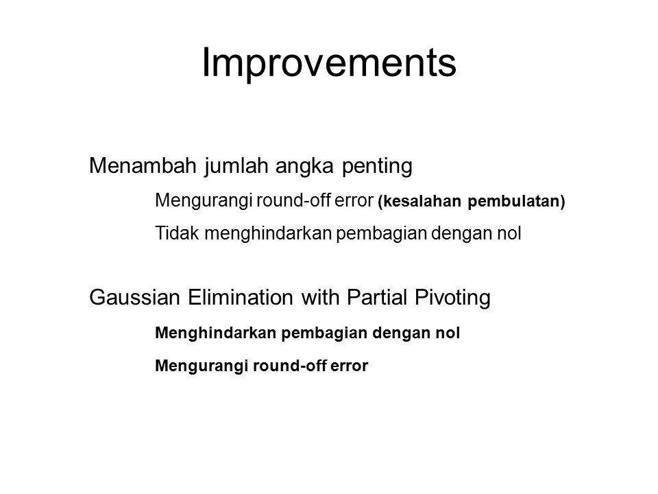 Improvements Menambah jumlah angka penting