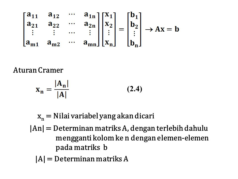 Aturan Cramer (2.4) xn = Nilai variabel yang akan dicari. |An| = Determinan matriks A, dengan terlebih dahulu.