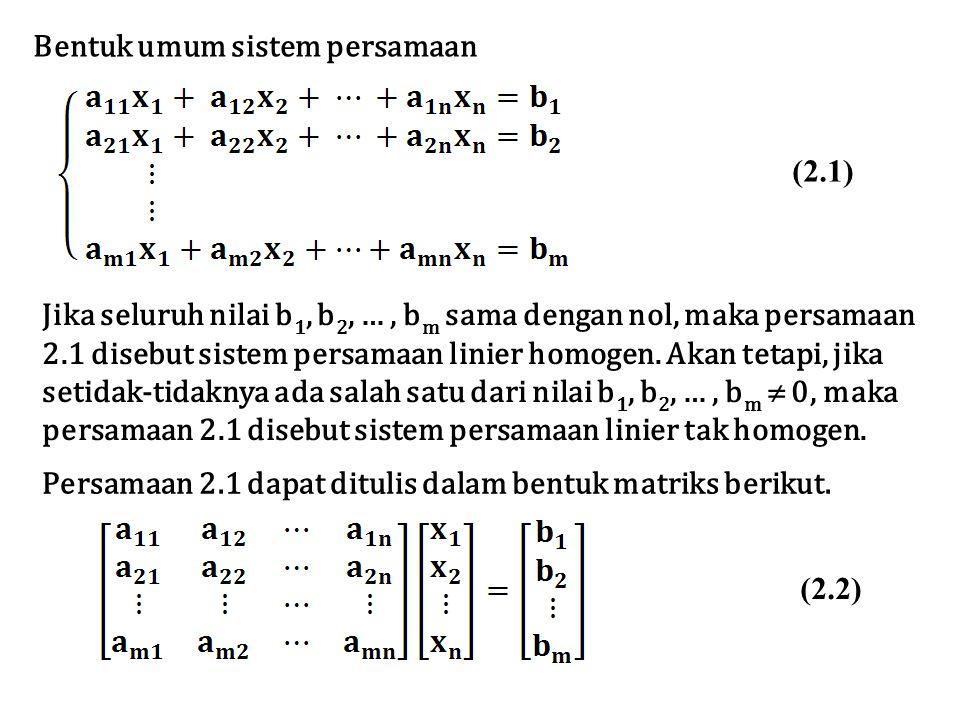 Bentuk umum sistem persamaan