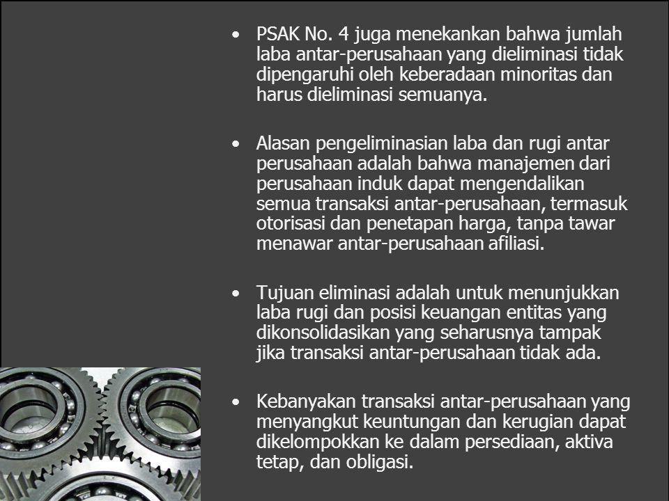 PSAK No. 4 juga menekankan bahwa jumlah laba antar-perusahaan yang dieliminasi tidak dipengaruhi oleh keberadaan minoritas dan harus dieliminasi semuanya.