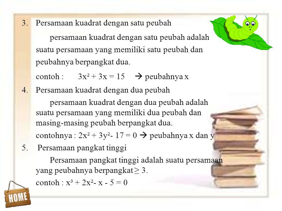 Persamaan kuadrat dengan satu peubah