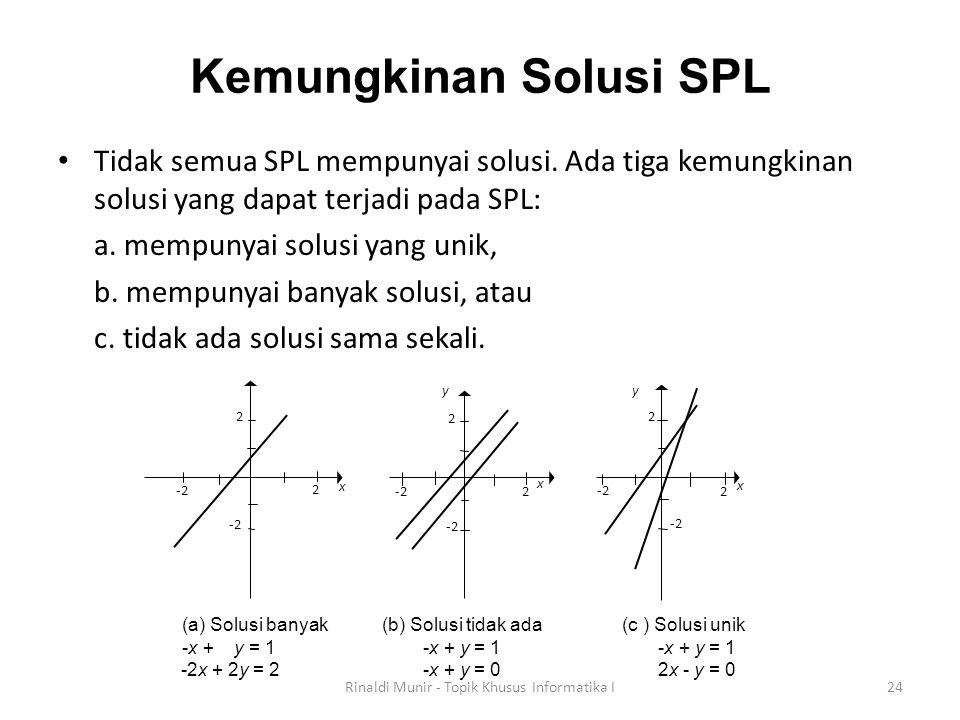 Kemungkinan Solusi SPL