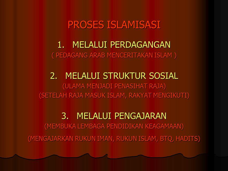 PROSES ISLAMISASI 1. MELALUI PERDAGANGAN 2. MELALUI STRUKTUR SOSIAL