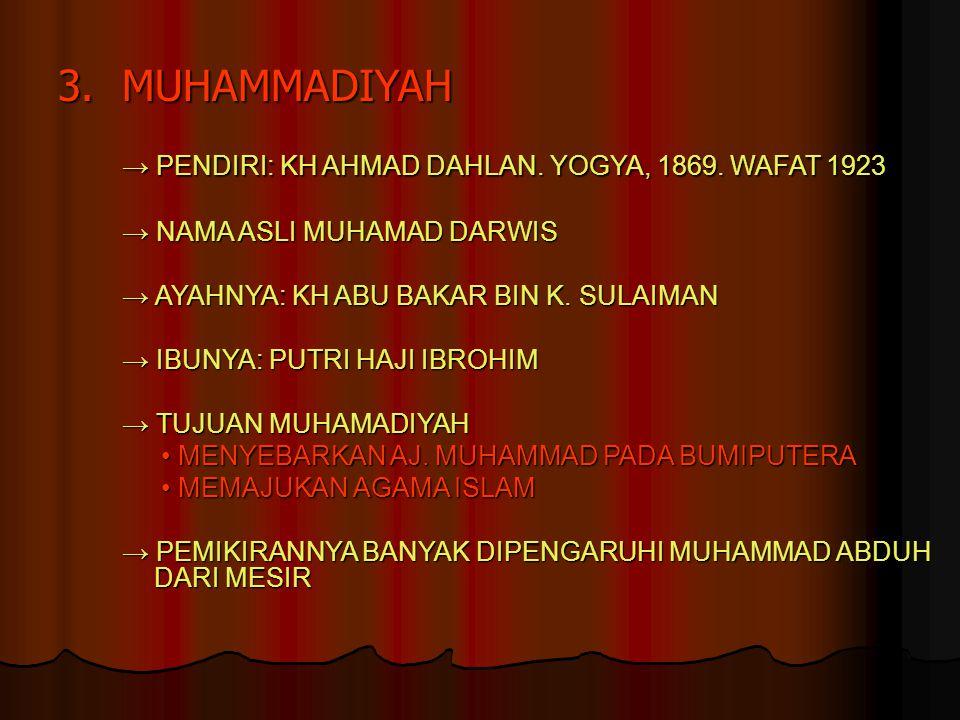 → PENDIRI: KH AHMAD DAHLAN. YOGYA, 1869. WAFAT 1923