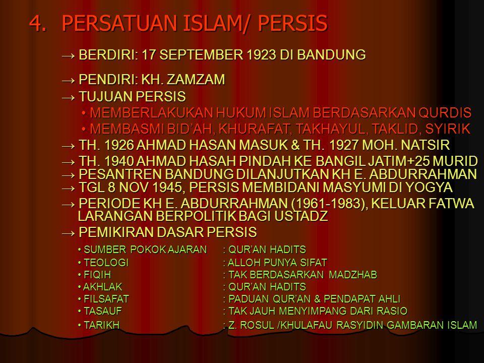 4. PERSATUAN ISLAM/ PERSIS → PENDIRI: KH. ZAMZAM