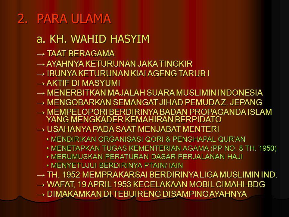 2. PARA ULAMA a. KH. WAHID HASYIM → TAAT BERAGAMA