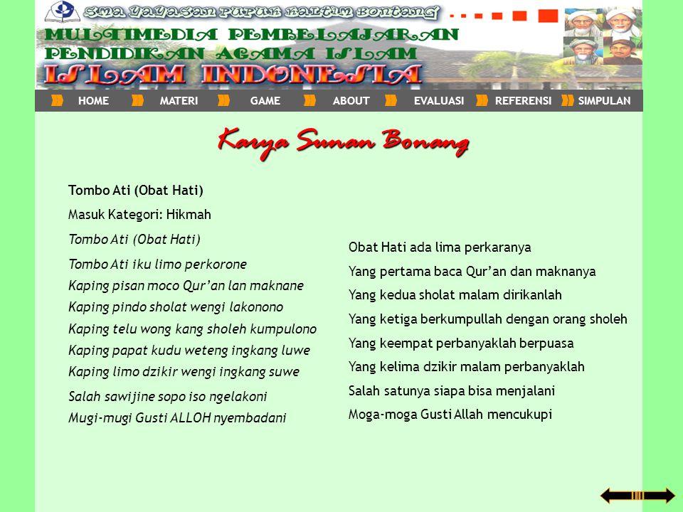 Karya Sunan Bonang Tombo Ati (Obat Hati) Masuk Kategori: Hikmah