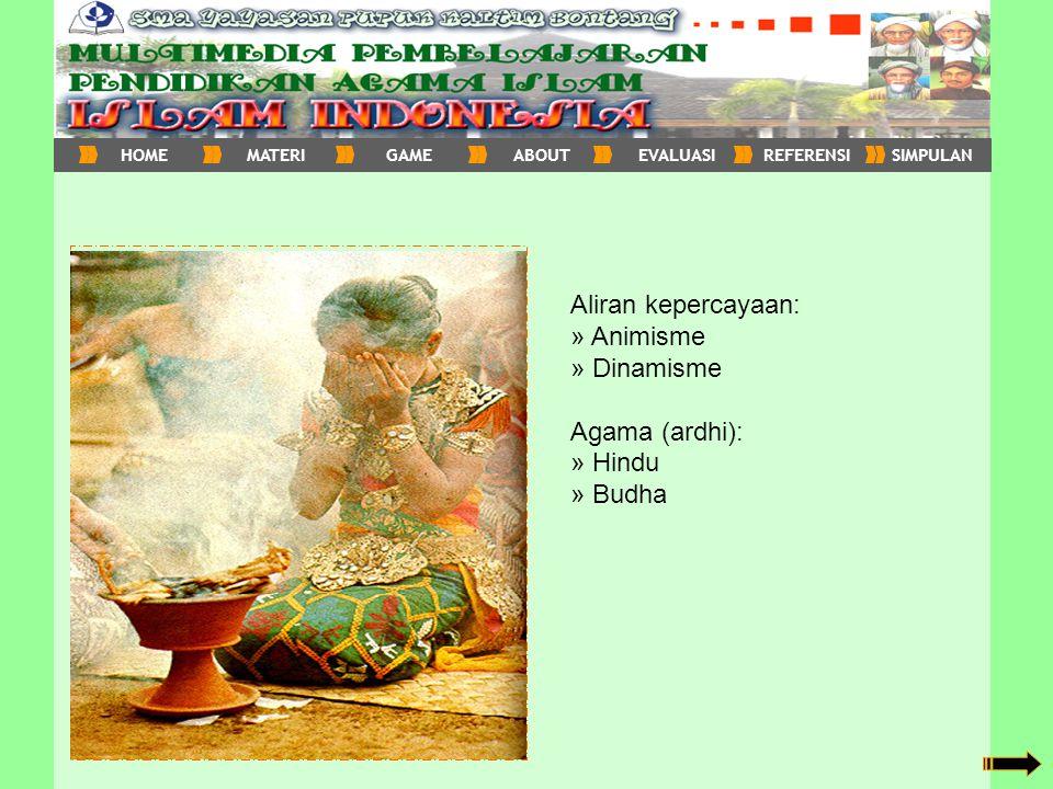 Aliran kepercayaan: » Animisme » Dinamisme Agama (ardhi): » Hindu