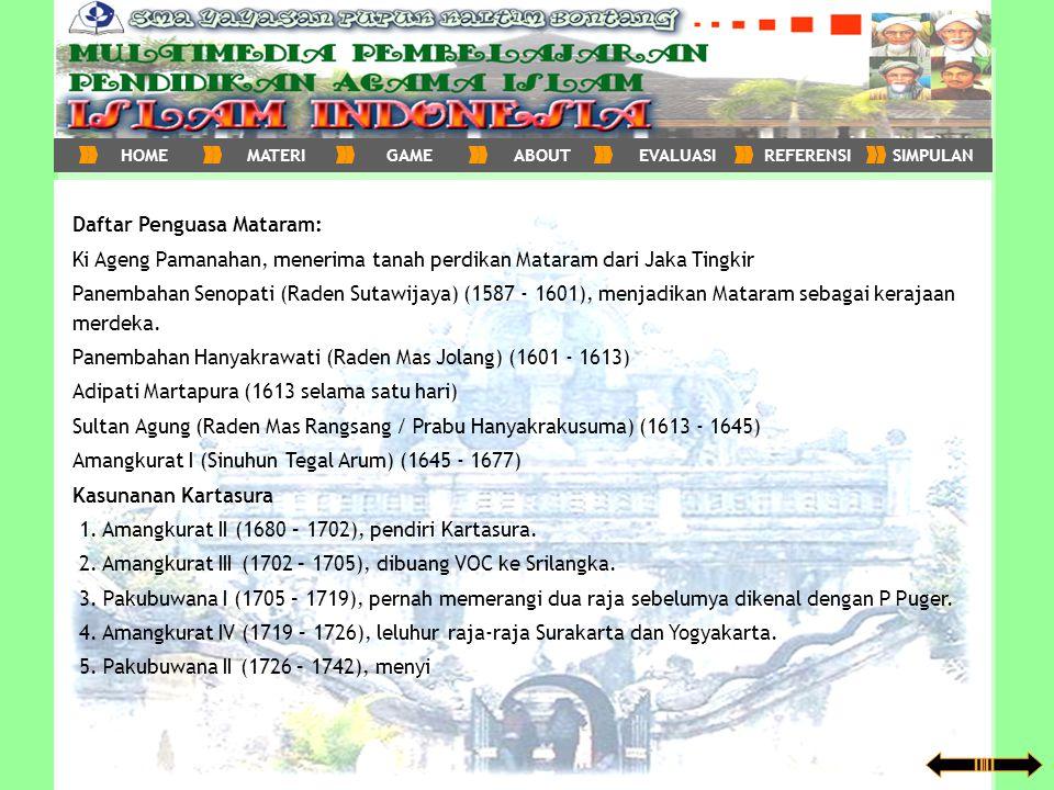 Daftar Penguasa Mataram: