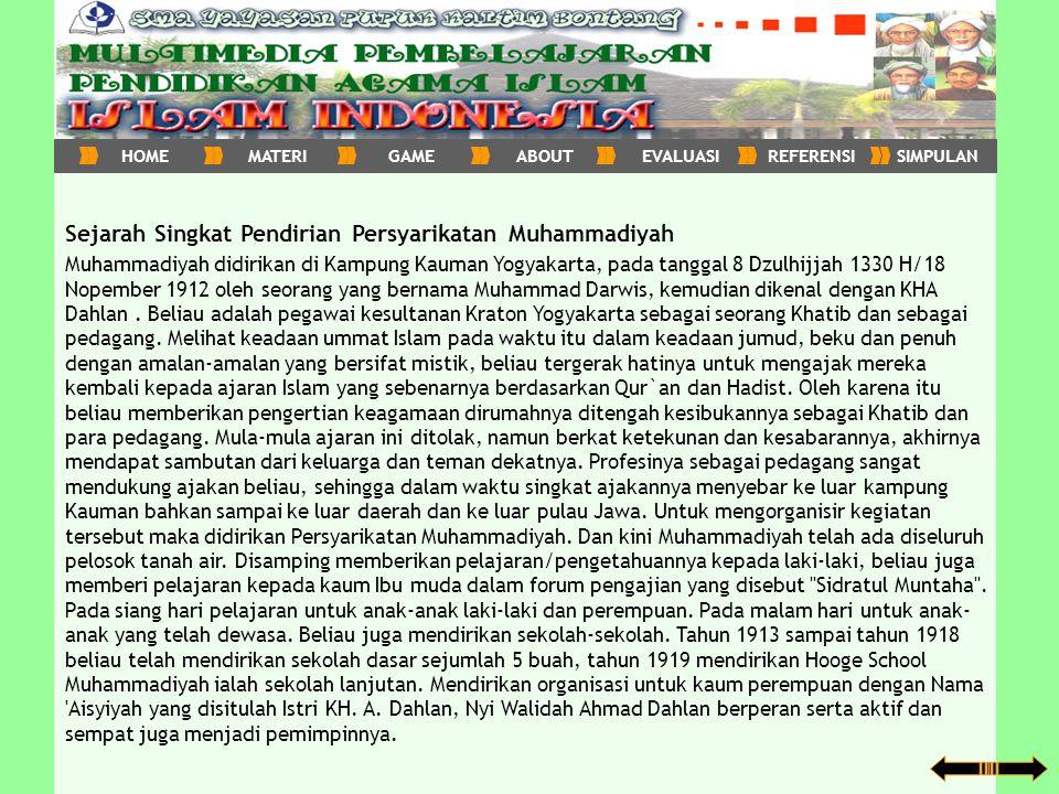 Sejarah Singkat Pendirian Persyarikatan Muhammadiyah