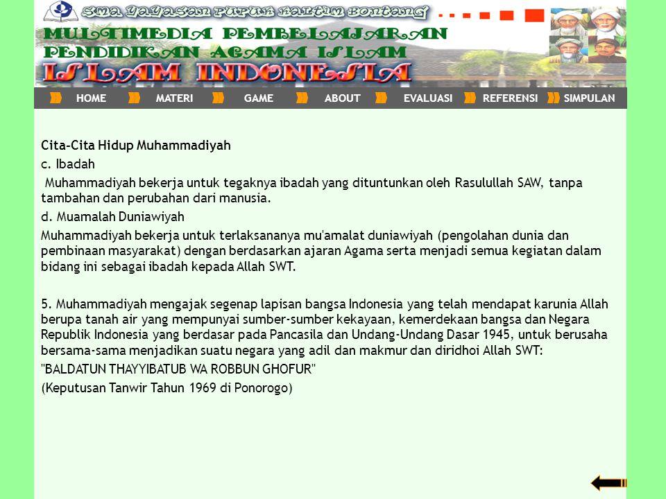 Cita-Cita Hidup Muhammadiyah c. Ibadah
