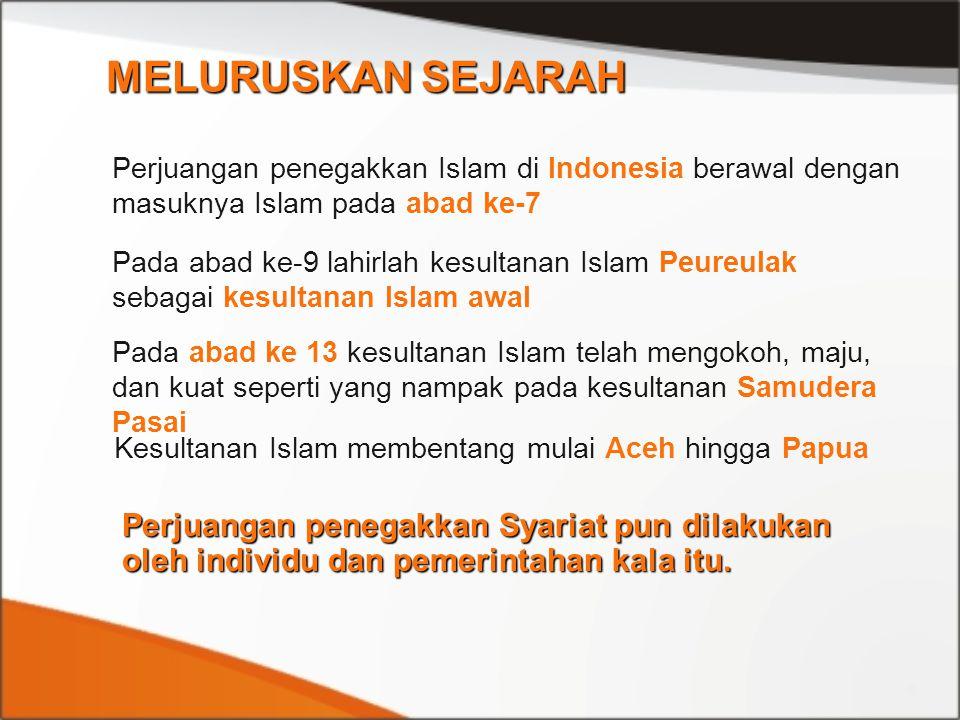 MELURUSKAN SEJARAH Perjuangan penegakkan Islam di Indonesia berawal dengan masuknya Islam pada abad ke-7.