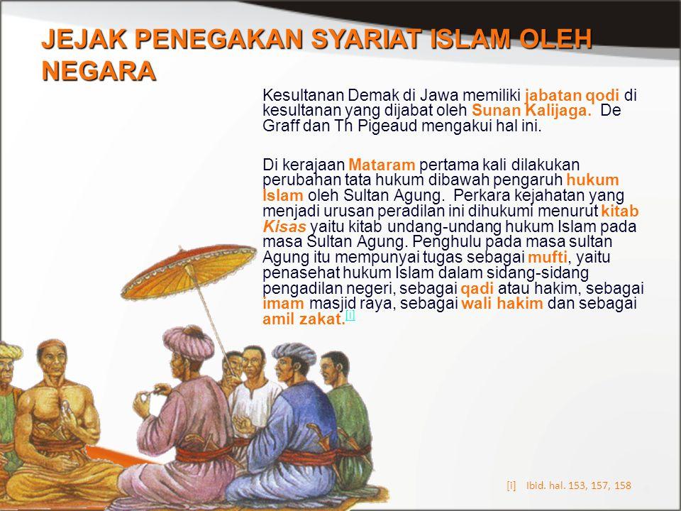 JEJAK PENEGAKAN SYARIAT ISLAM OLEH NEGARA