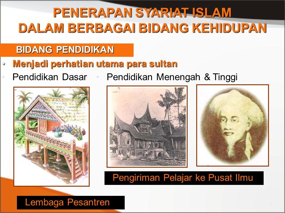 PENERAPAN SYARIAT ISLAM DALAM BERBAGAI BIDANG KEHIDUPAN