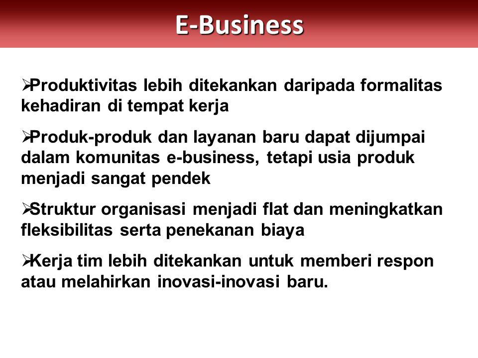 E-Business Produktivitas lebih ditekankan daripada formalitas kehadiran di tempat kerja.