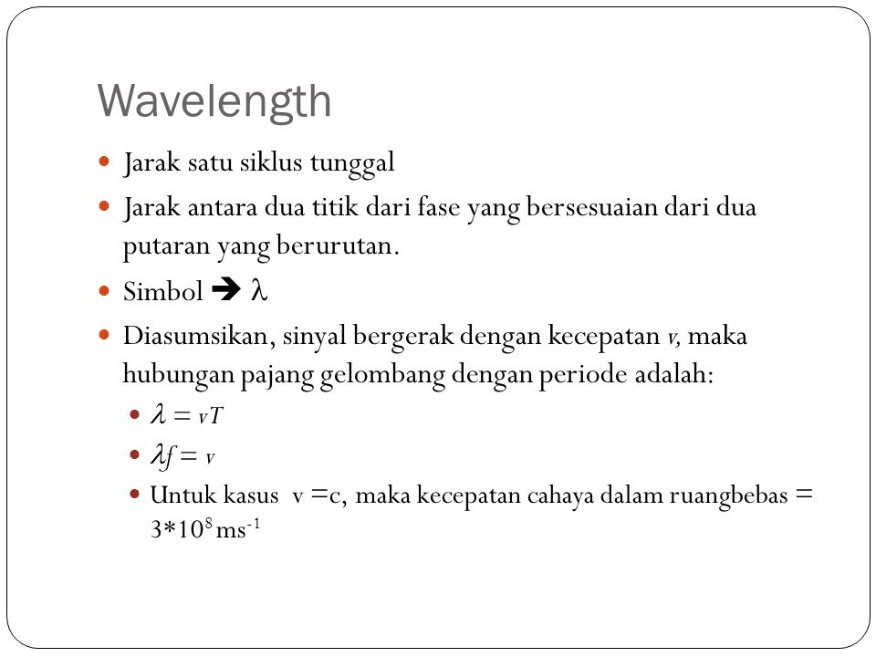 Wavelength Jarak satu siklus tunggal