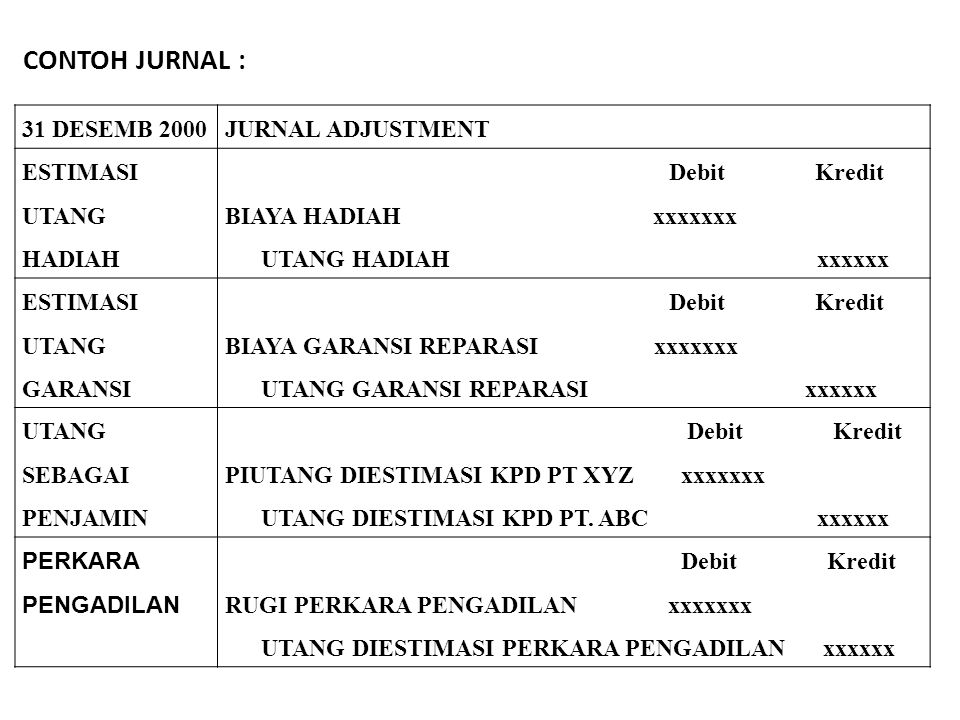 CONTOH JURNAL : 31 DESEMB 2000 JURNAL ADJUSTMENT ESTIMASI UTANG HADIAH