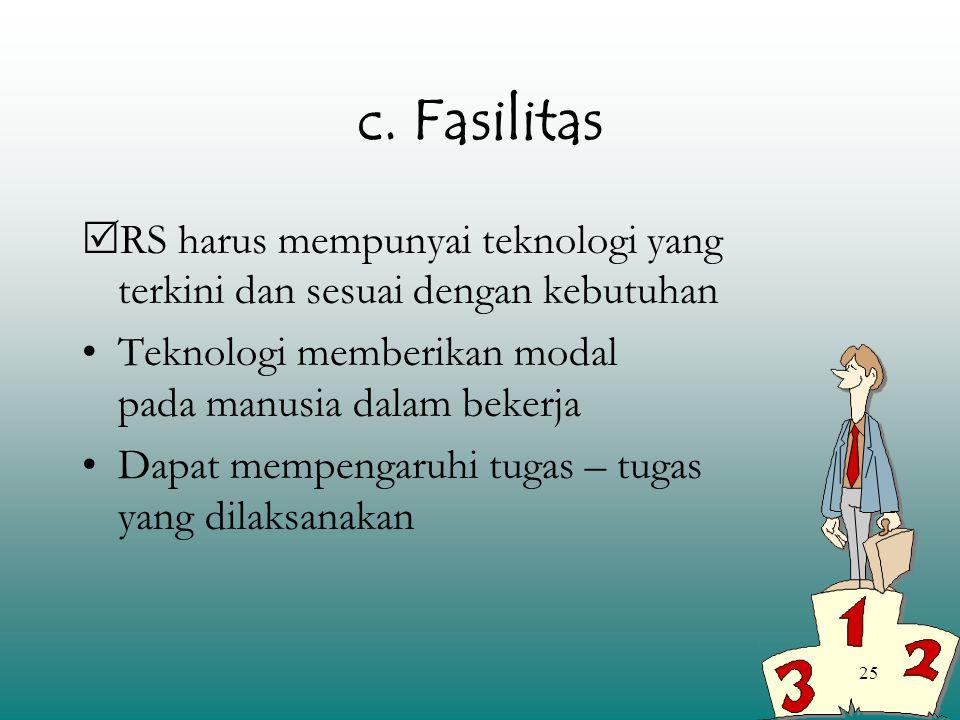 c. Fasilitas RS harus mempunyai teknologi yang terkini dan sesuai dengan kebutuhan.