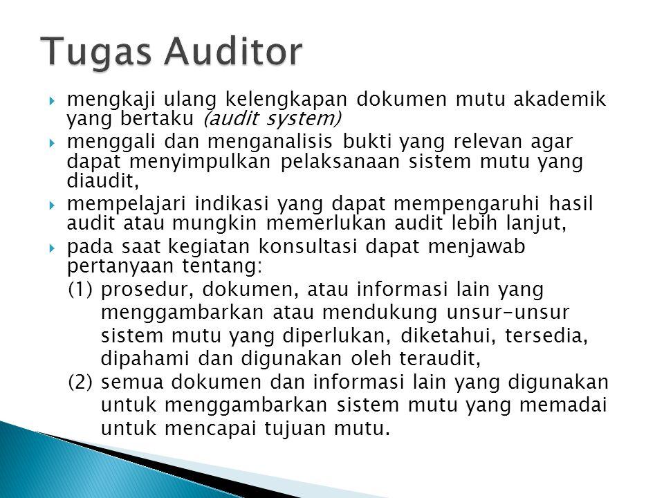 Tugas Auditor mengkaji ulang kelengkapan dokumen mutu akademik yang bertaku (audit system)