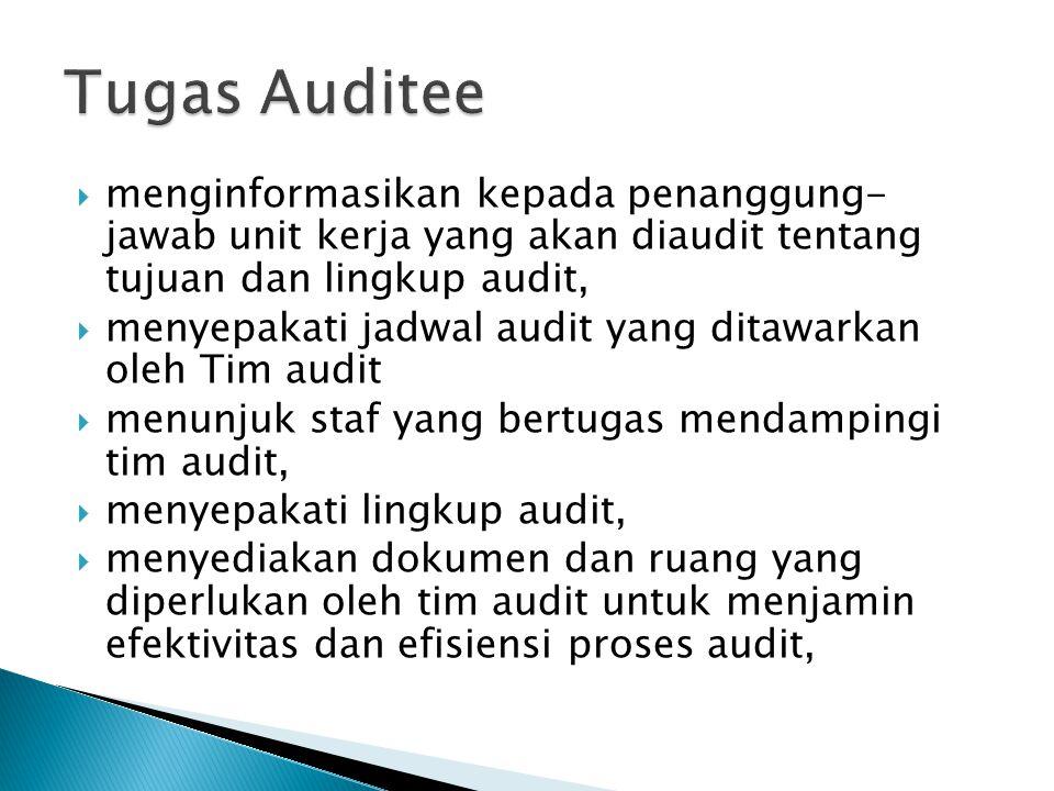 Tugas Auditee menginformasikan kepada penanggung- jawab unit kerja yang akan diaudit tentang tujuan dan lingkup audit,
