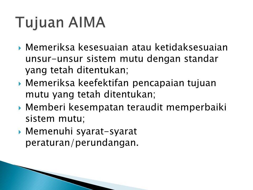 Tujuan AIMA Memeriksa kesesuaian atau ketidaksesuaian unsur-unsur sistem mutu dengan standar yang tetah ditentukan;