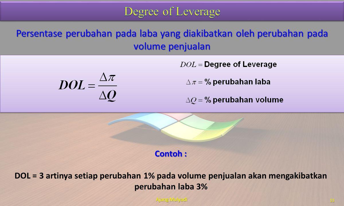 Degree of Leverage Persentase perubahan pada laba yang diakibatkan oleh perubahan pada volume penjualan.