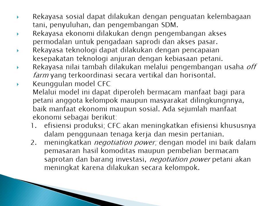 Rekayasa sosial dapat dilakukan dengan penguatan kelembagaan tani, penyuluhan, dan pengembangan SDM.