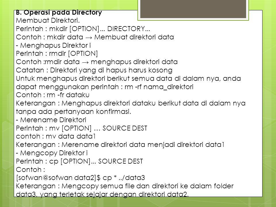 B. Operasi pada Directory